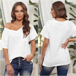 Here With Me V-Neck Shirt-White